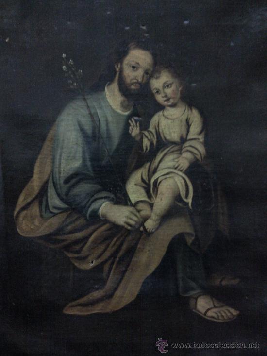 Arte: Cuadro oleo lienzo siglo XVIII (San Jose con niño). - Foto 2 - 26361938