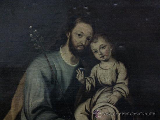 Arte: Cuadro oleo lienzo siglo XVIII (San Jose con niño). - Foto 3 - 26361938