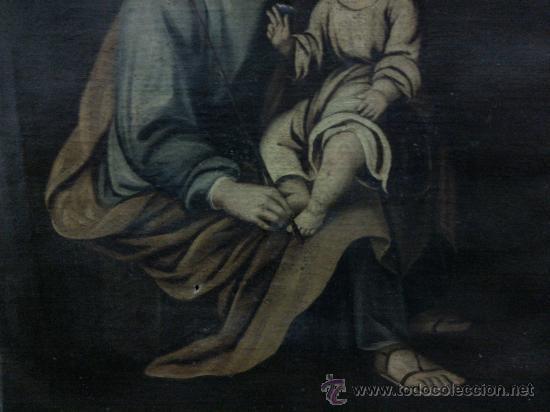 Arte: Cuadro oleo lienzo siglo XVIII (San Jose con niño). - Foto 4 - 26361938
