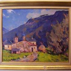 Arte: ANTONI LLOBET. LAS GUILLERÍAS, GERONA. ÓLEO SOBRE LIENZO. 42X52 CM.. Lote 22383733