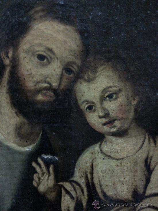 Arte: Cuadro oleo lienzo siglo XVIII (San Jose con niño). - Foto 8 - 26361938