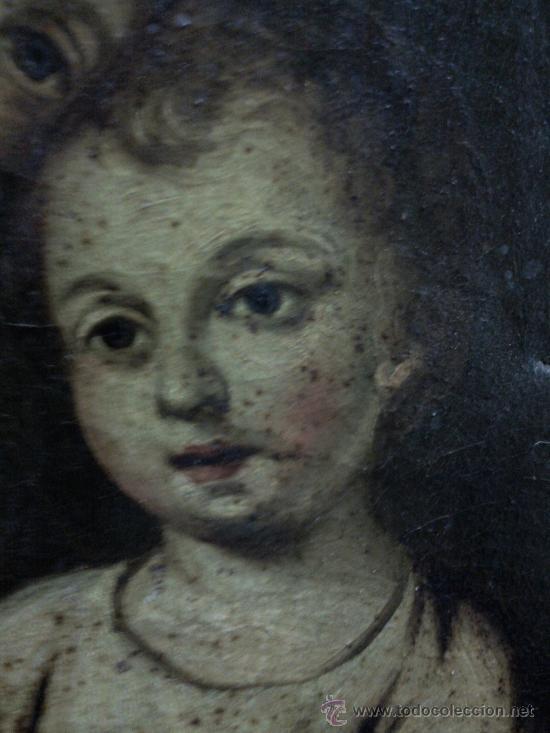 Arte: Cuadro oleo lienzo siglo XVIII (San Jose con niño). - Foto 10 - 26361938