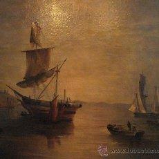 Arte: MARINA . ESCUELA HOLANDESA S.XVIII. OLEO SOBRE LIENZO. Lote 27055246
