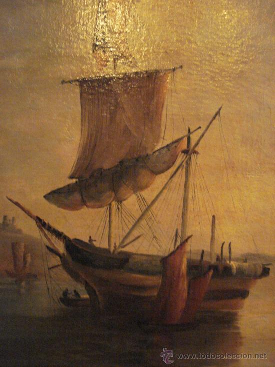 Arte: MARINA . ESCUELA HOLANDESA S.XVIII. OLEO SOBRE LIENZO - Foto 2 - 27055246