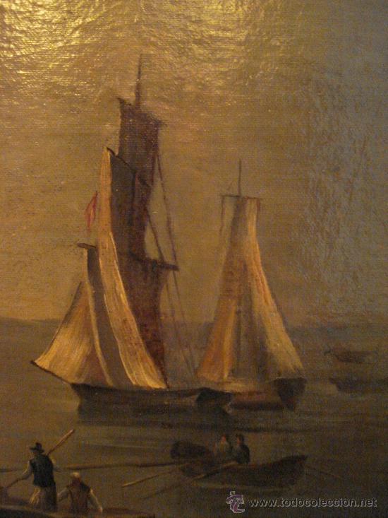 Arte: MARINA . ESCUELA HOLANDESA S.XVIII. OLEO SOBRE LIENZO - Foto 3 - 27055246