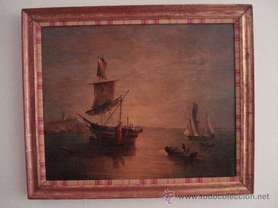 Arte: MARINA . ESCUELA HOLANDESA S.XVIII. OLEO SOBRE LIENZO - Foto 5 - 27055246