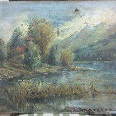 Arte: ANTIGUO PAISAJE ÓLEO LIENZO DE FINALES DEL SIGLO XIX. Lote 26837668