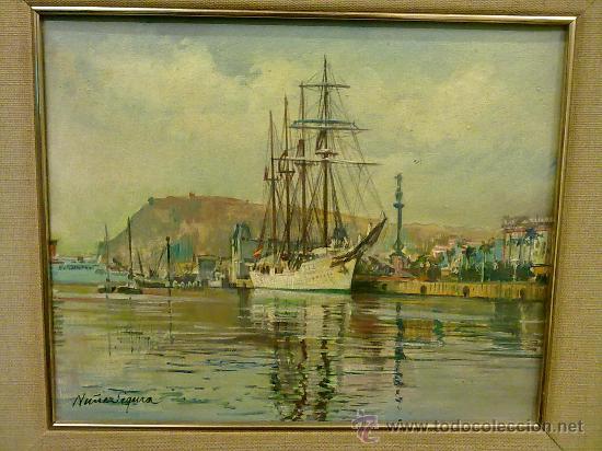 VELERO EN PUERTO DE BARCELONA,JORGE NUÑEZ SEGURA(1932) (Arte - Pintura - Pintura al Óleo Moderna )