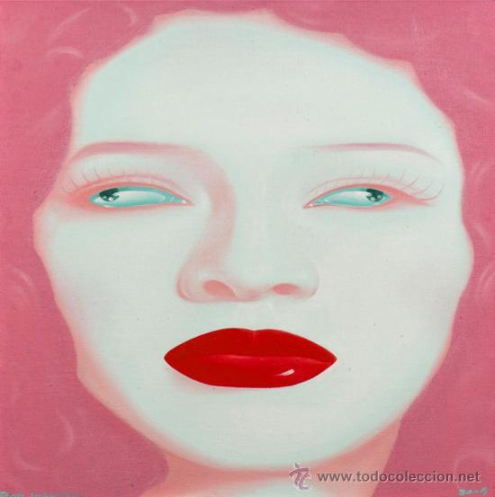 FENG ZHENGJIE (1968) CHINA PORTRAIT SERIES ÓLEO CONTEMPORÁNEO RETRATO PINTURA FIRMADO Y FECHADO 2004 (Arte - Pintura - Pintura al Óleo Contemporánea )