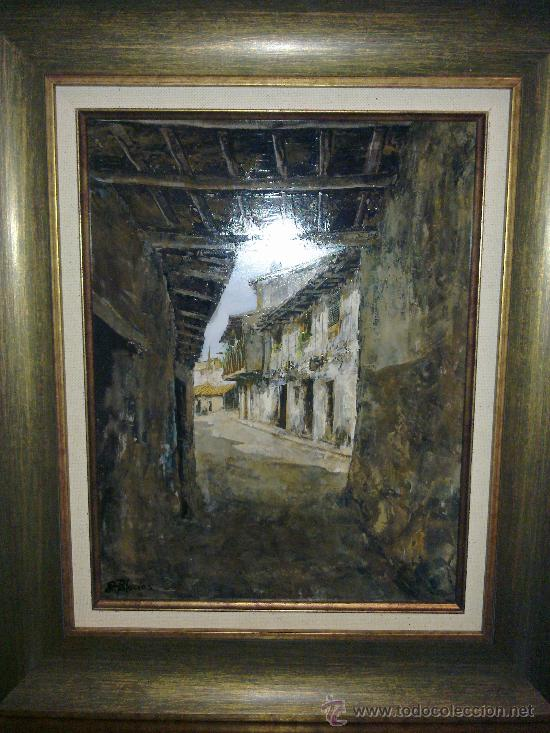 PASADIZO DE LA ALBERCA. SALAMANCA. OBRA DE EVARISTO PALACIOS. (Arte - Pintura - Pintura al Óleo Contemporánea )