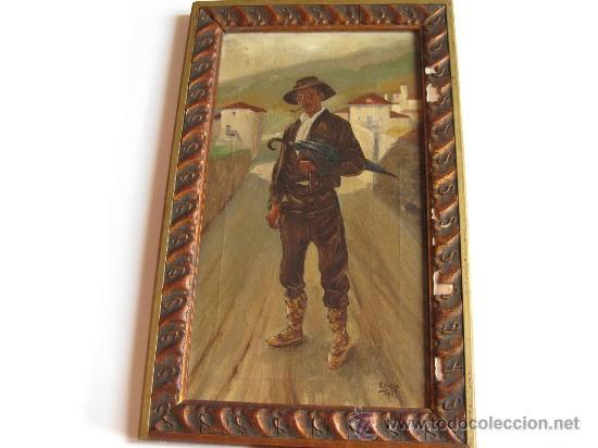 OLEO DE UN TIPO VASCO - PINTOR VASCO - ECHEVA 1927 (Arte - Pintura - Pintura al Óleo Moderna sin fecha definida)