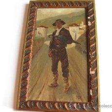 Arte: OLEO DE UN TIPO VASCO - PINTOR VASCO - ECHEVA 1927. Lote 23853449