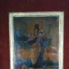 Arte: VIRGEN DEL CARMEN S.XVIII, AUTOR DESCONOCIDO. Lote 24246756