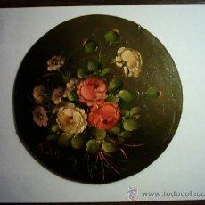 Arte: PEDRO VALLS. FLORES. ÓLEO/TABLEX. 18 CM. FIRMADO.. Lote 27570794