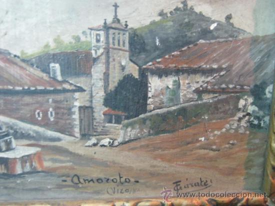 OLEO SOBRE TABLA AMOROTO VIZCAYA - FIRMA GARATE (Arte - Pintura - Pintura al Óleo Moderna sin fecha definida)