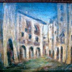 Arte: PUEBLO CASTELLANO. ÓLEO ORIGINAL. Lote 25933111
