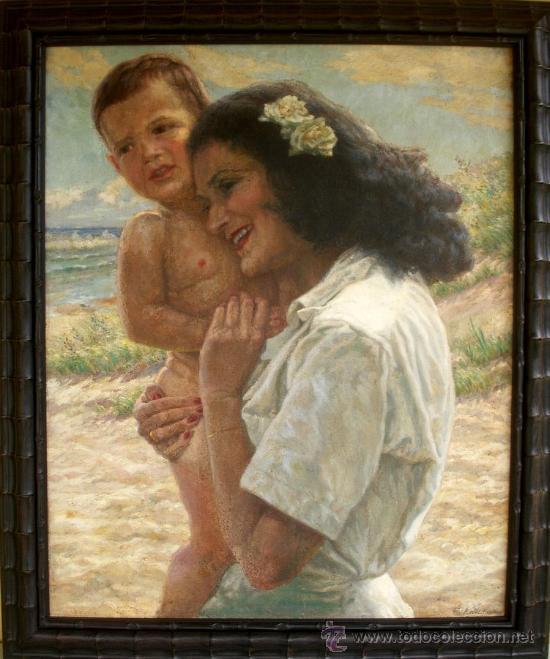 MATERNIDAD - MUJER CON NIÑO EN BRAZOS - ORIGINAL 1934 (Arte - Pintura - Pintura al Óleo Moderna siglo XIX)