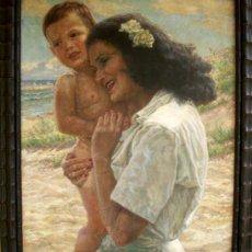 Kunst - MATERNIDAD - MUJER CON NIÑO EN BRAZOS - ORIGINAL 1934 - 26425102