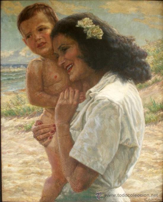 Arte: MATERNIDAD - MUJER CON NIÑO EN BRAZOS - ORIGINAL 1934 - Foto 2 - 26425102