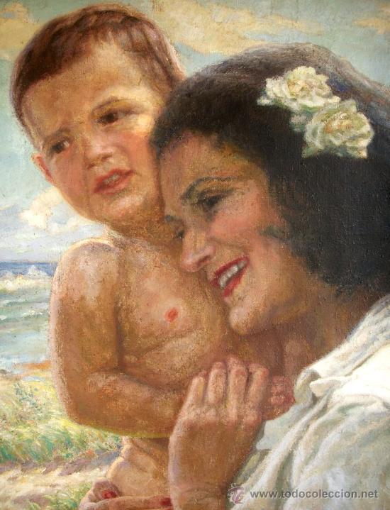 Arte: MATERNIDAD - MUJER CON NIÑO EN BRAZOS - ORIGINAL 1934 - Foto 3 - 26425102