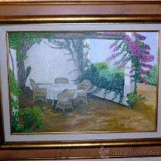 Arte: S. BROCH. OLEO SOBRE LIENZO EN BASTIDOR. TERRAZA. ENMARCADO. 76 X 60 CM. Lote 27418561