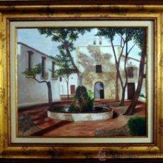 Arte: S. BROCH. OLEO SOBRE LIENZO EN BASTIDOR. PLAZA DE PUEBLO. ENMARCADO 68 X 78 CM.. Lote 27418572