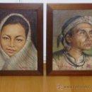 Arte: MAGNIFICA PAREJA DE INDIGENAS FILIPINOS PINTADOS AL OLEO. Lote 24689005