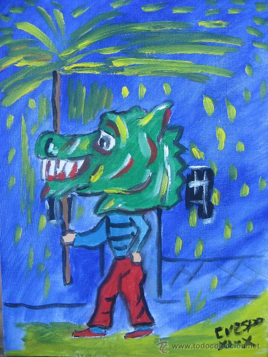 EL DRAC DE FOC. ÓLEO SOBRE LIENZO EN BASTIDOR DE 30X40 CM. DE CRESPO (Arte - Pintura - Pintura al Óleo Contemporánea )