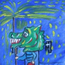 Arte: EL DRAC DE FOC. ÓLEO SOBRE LIENZO EN BASTIDOR DE 30X40 CM. DE CRESPO. Lote 24712826