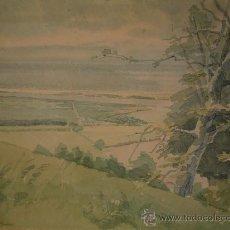 Arte: BONITO PAISAJE FIRMADO F.N. COLWICH 79 TITULADO LOOKING OVER SALT HOUSES, ESCUELA INGLESA. Lote 24745608