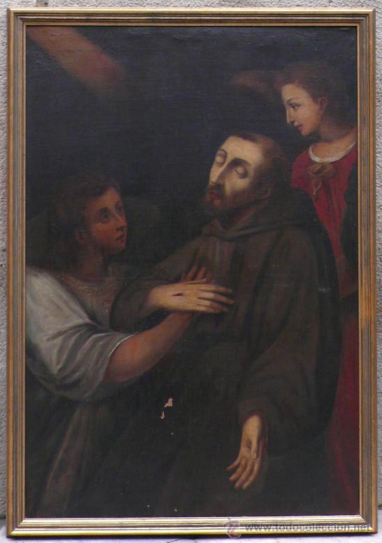 SAN FRANCISCO DE ASIS, ÓLEO SOBRE TELA REENTELADO S. XVIII. 120X85 CM. (Arte - Pintura - Pintura al Óleo Antigua siglo XVIII)