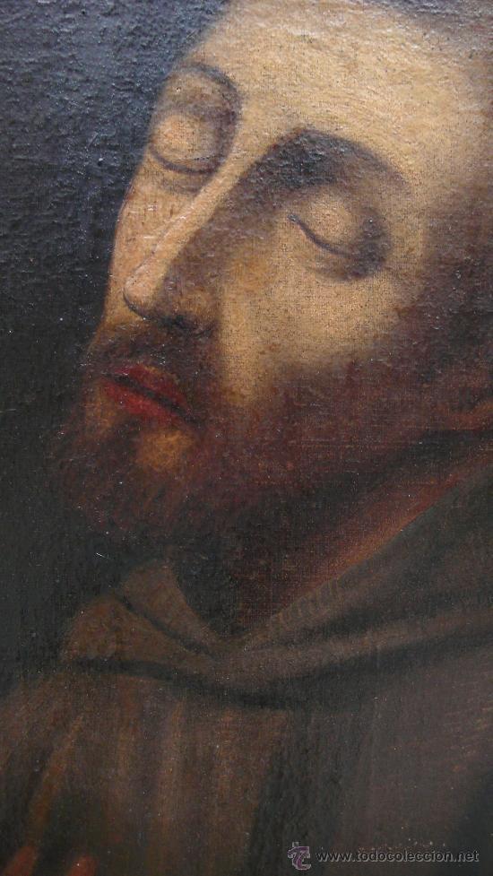 Arte: San Francisco de Asis, óleo sobre tela reentelado s. XVIII. 120x85 cm. - Foto 4 - 26603361