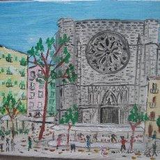 Arte: SANTA MARIA DEL PI , BARCELONA ,ÓLEO SOBRE LIENZO EN BASTIDOR DE 43X33 CM. DE CRESPO. Lote 24873789