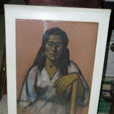 Arte: RETRATO FEMENINO A CERA FDO.JOEP MUXÍ 1955. Lote 24890028