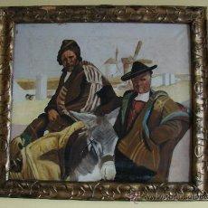 Arte: OLEO SOBRE LIENZO. CAMPESINOS DE CASTILLA-LA MANCHA. PRIMERA MITAD SIGLO XX. Lote 26468251