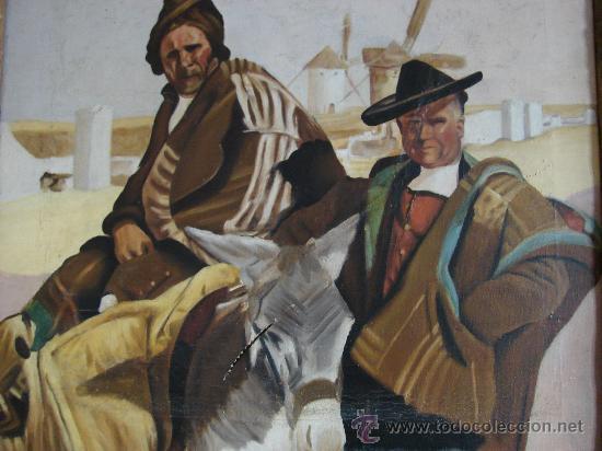 Arte: OLEO SOBRE LIENZO. CAMPESINOS DE CASTILLA-LA MANCHA. PRIMERA MITAD SIGLO XX - Foto 2 - 26468251