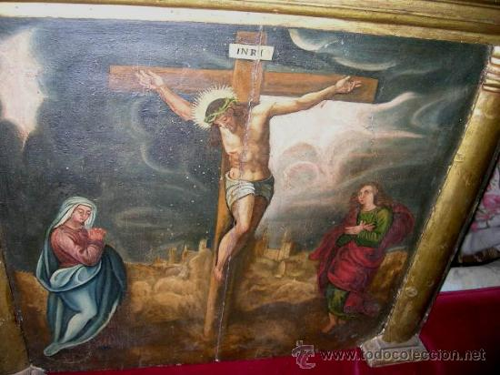 Arte: CALVARIO ESCUELA TOLEDANA SIGLO XVII. Oleo/s TABLA. VER DESCRIPCIÓN. Md. 77x63 ADJUNTA. ENVÍO PAGO. - Foto 8 - 56041291