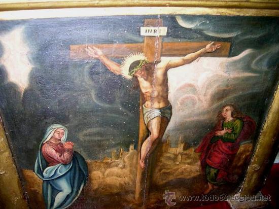 Arte: CALVARIO ESCUELA TOLEDANA SIGLO XVII. Oleo/s TABLA. VER DESCRIPCIÓN. Md. 77x63 ADJUNTA. ENVÍO PAGO. - Foto 10 - 56041291