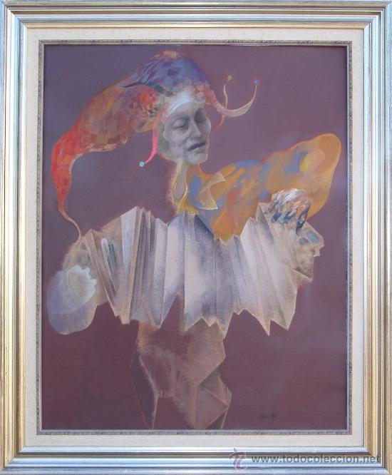 Arte: Alfonso Costa Beiro 1981 - Obra Catalogada - acrílico sobre tela - Arlequín - Foto 2 - 25194310