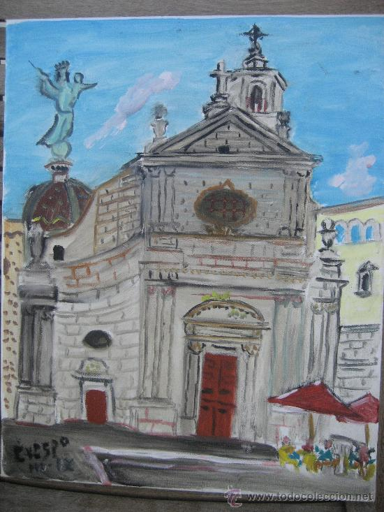 IGLESIA DE LA MERCÉ ,BARCELONA, ÓLEO LIENZO BASTIDOR, 33X43 C. D CRESPO (Arte - Pintura - Pintura al Óleo Contemporánea )