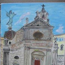 Arte: IGLESIA DE LA MERCÉ ,BARCELONA, ÓLEO LIENZO BASTIDOR, 33X43 C. D CRESPO. Lote 25231429