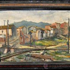 Arte: EUSEBIO DIAZ COSTA. OIX, GERONA, 1908-1964. OLEO TELA DEL AÑO 1928. BARCELONA. TIBIDABO. Lote 27181141
