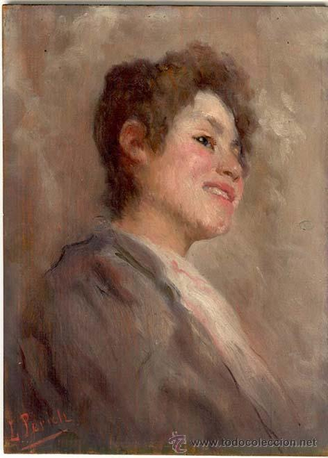 LUIS PERICH SOLA - 1878 - 1903 OLEO SOBRE TABLA. 20,2 X 27,5 CMS - VELL I BELL (Arte - Pintura - Pintura al Óleo Moderna sin fecha definida)