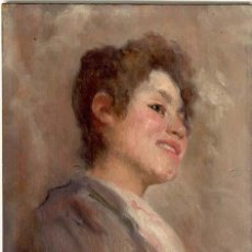 Arte: LUIS PERICH SOLA - 1878 - 1903 OLEO SOBRE TABLA. 20,2 X 27,5 CMS - VELL I BELL. Lote 26946134