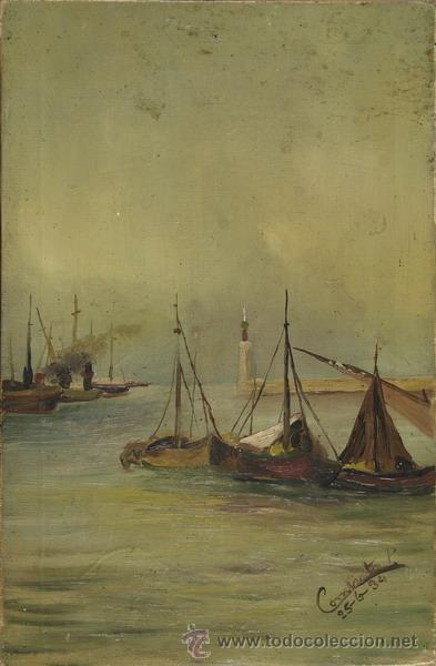 ÓLEO SOBRE LEINZO , MARINA , FIRMADO POR CONCHITA (Arte - Pintura - Pintura al Óleo Moderna sin fecha definida)