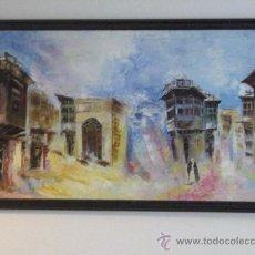 Arte: OLEO SOBRE LIENZO - PINTURA ARABE - PUEBLO - FIRMADO - 125 X 66 CM.. Lote 26280360