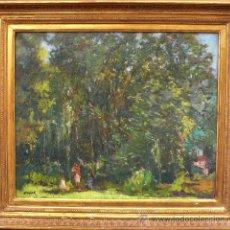 Art - Paisaje boscoso, firmado: Ramón PUJOL. Óleo sobre linezo 54x45 cm. Marco dorado: 70x62 cm. - 26700543