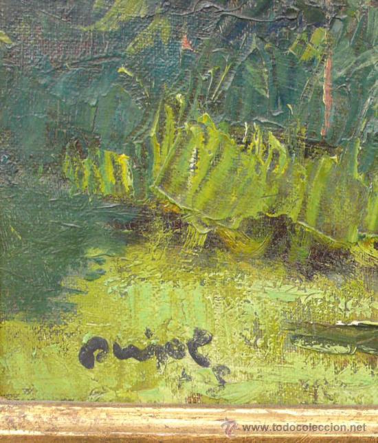 Arte: Paisaje boscoso, firmado: Ramón PUJOL. Óleo sobre linezo 54x45 cm. Marco dorado: 70x62 cm. - Foto 3 - 26700543