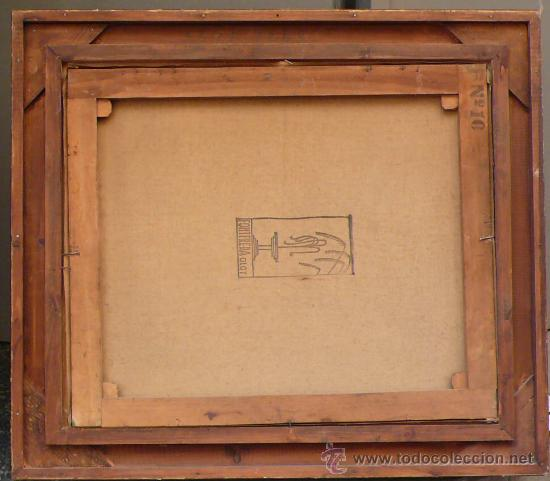 Arte: Paisaje boscoso, firmado: Ramón PUJOL. Óleo sobre linezo 54x45 cm. Marco dorado: 70x62 cm. - Foto 4 - 26700543