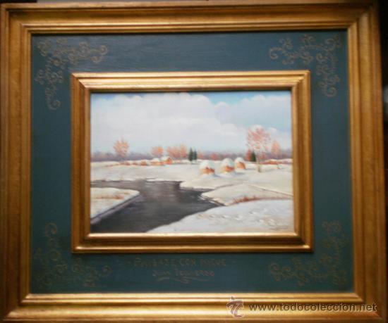 BONITO PAISAJE NEVADO - JUAN IZQUIERDO (Arte - Pintura - Pintura al Óleo Moderna sin fecha definida)